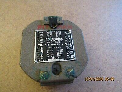 Vintage D W Bruntons Wm Ainsworth Sons Pocket Transit Compass Original Case