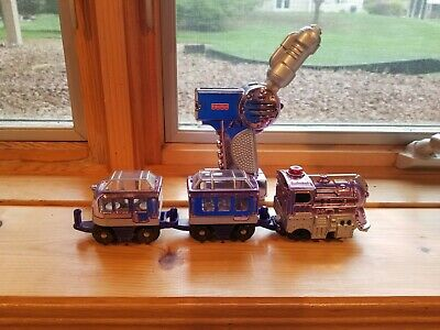FISHER PRICE GEOTRAX REMOTE CONTROL TRAIN Metalic Purple/Pink TESTED 4 PIECE