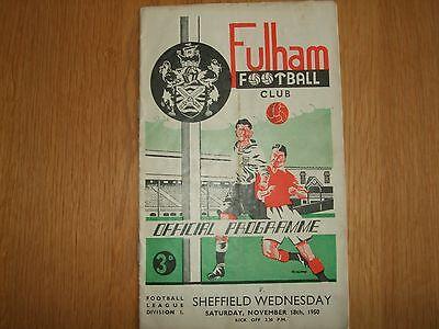 Fulham v Sheffield Wednesday - Division 2 - 18th Nov 1950