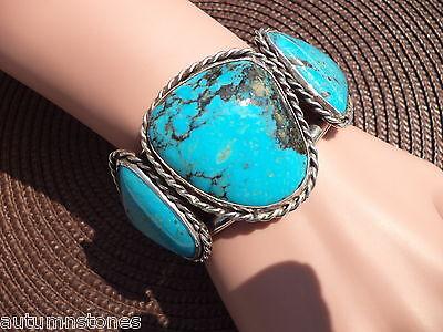 "7"" HUGE 85g OLD PAWN Vintage Sterling KINGMAN Turquoise Cuff Bracelet Unisex"