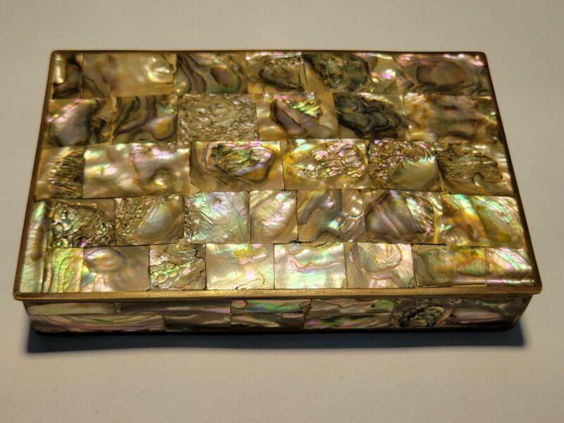 Brass & Abalone Shell Trinket Jewelry Box -VINTAGE - VERY NICE