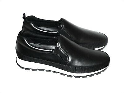 PRADA Zapatos Hombre Zapatillas Calfskin Black Eu : 45 (11) Nuevo /