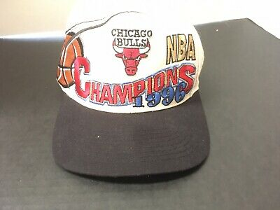 VINTAGE 1996 CHICAGO BULLS CHAMPIONSHIP HAT CAP SNAPBACK NBA Logo Off White