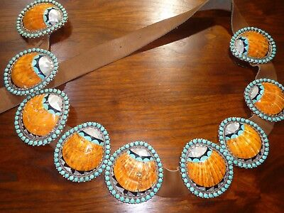 Massive Concho Belt Inlay Spiny Oyster Shell Turquoise Mosaic Shell Sterling Jet