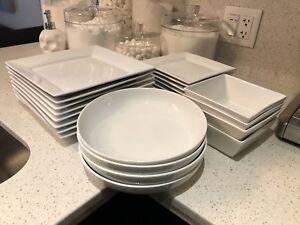 White dinnerware and dishware set.