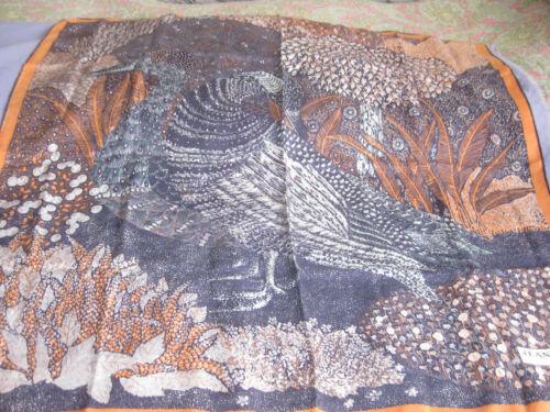 """JEAN PATOU  Art Print Silk Scarf 33"""" X 34"""" Vintage"""