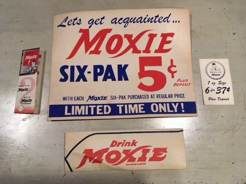 Vintage Moxie Soda Advertising 4 pc Store Sign Soda Jerk Hat 1930's NOS