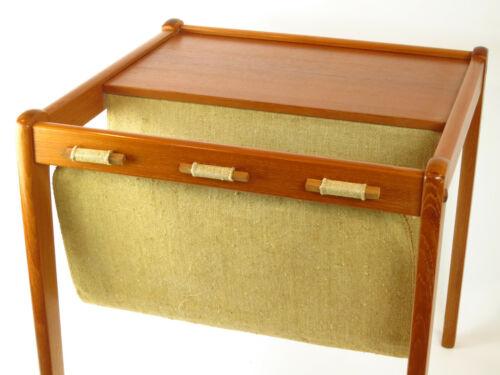 Excellent Teak Wood BRDR Furbo MCM Danish Wooden Magazine Sling Side Table