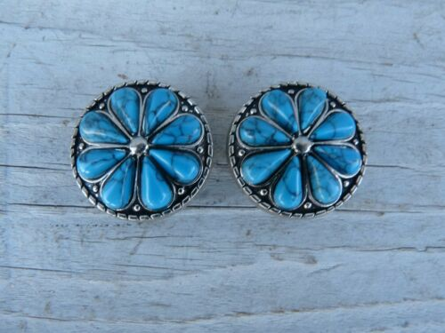 """2 Turquoise Floral Flower Round Conchos 1"""""""
