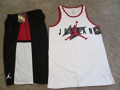 NEW Boys NIKE AIR JORDAN  2pc Outfit Blk/Red Shorts+White Tank Top YXL FREE SHIP