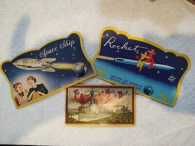 3 Vintage Advertising Sewing Needles Packs Space Ship, Rocket & Army/ Navy