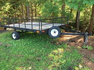 8x10 Flat Deck Trailer, Removable Side Rails