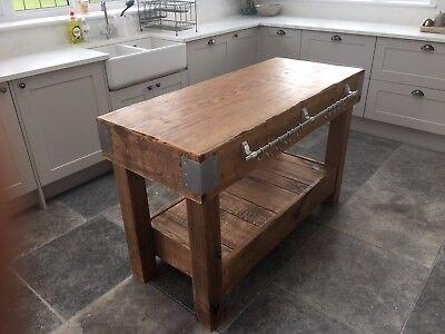 HUGE English OAK butchers block kitchen island table storage furniture vintage