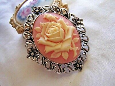 PINK MOTHERS DAY PENDANT BROOCH VICTORIAN NECKLACE SILVER VINTAGE ROSE CAMEO
