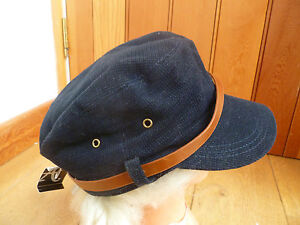 MONSOON ACCESSORIZE NAVY BLACK VELVET CORD FUNKY BAKER BOY PEAKED HAT CAP BELT