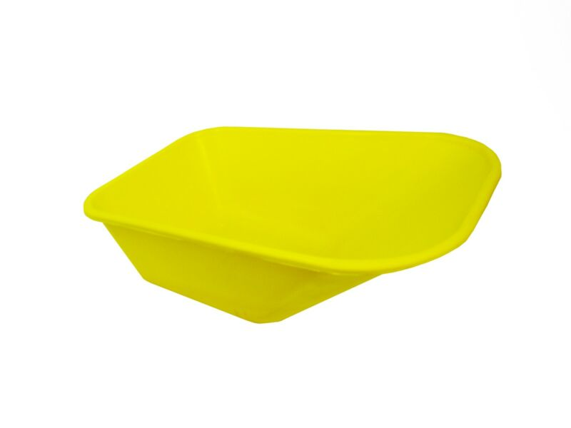 WHEEL+BARROW+YELLOW+REPLACEMENT+PLASTIC+BODY+110+LITRE%2F+NO+HOLES+MADE+IN+UK++