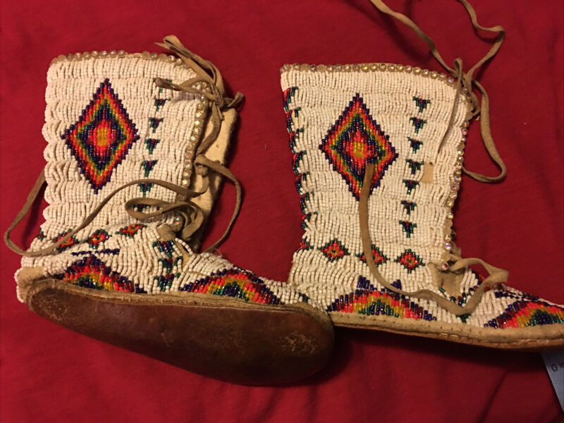 vintage Fully beaded moccasins Child Boot Shoe American Indian