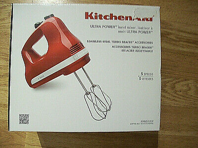 NEW KitchenAid Ultra Power 5-Speed Hand Mixer Empire Red KHM512ER