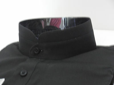 Mens black high collar nehru collarless style french cuff for Mens high collar dress shirts