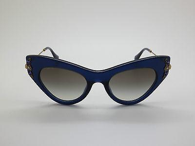 NEW MIU MIU SMU 04P 0AX-0A7 Blue Cat-Eye 49mm Sunglasses
