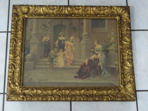 """Large Victorian Style Gold Gilt Picture Frame w Courtyard Meeting Scene 21x26"""""""