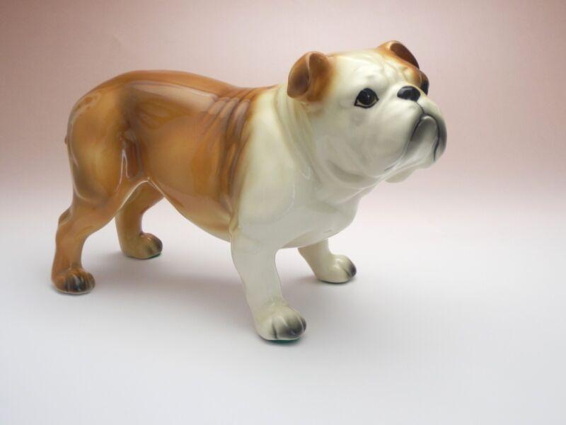 Red and White English Bulldog Standing Dog Ceramic Porcelain Figurine Japan New