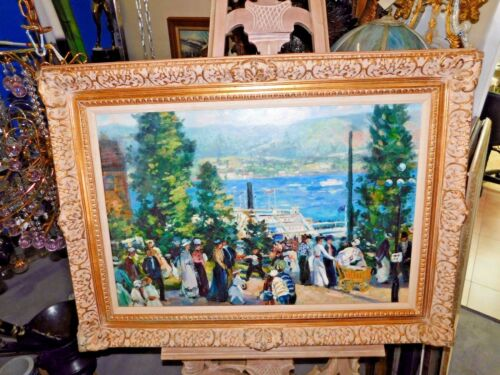 "Magnificent ""After Gifford Beal"" Oil on Canvas Painting of Albany Boat - Signed"