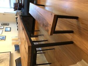 Barn-board / reclaimed wood table with bench