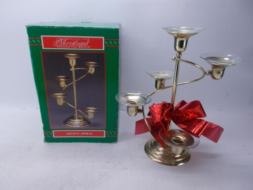 """1993 House of LLoyd Advent Spiral Candle Holder Christmas Brass 10"""" Added Bow"""