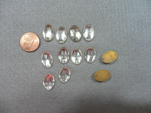 12 Vintage Oval Glass Crystals ~ Made in Western Germany US Zone