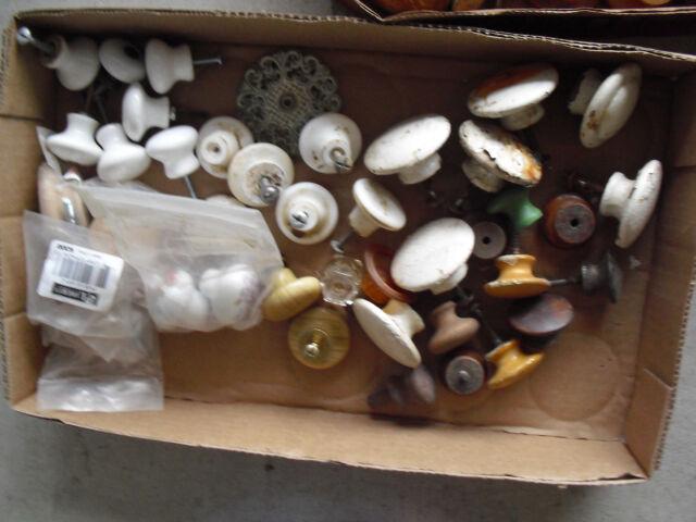 Large Lot of Vintage to Modern Porcelain and Wood Furniture Drawer Pulls