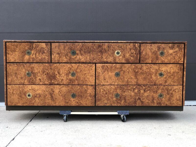 Mid Century Modern John Stuart Burl Wood Brass Round Pull Seven Drawer Dresser