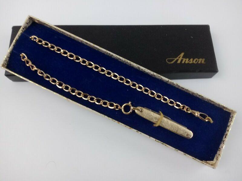 Vtg Anson Pocket Knife Watch FOB Goldtone in Box