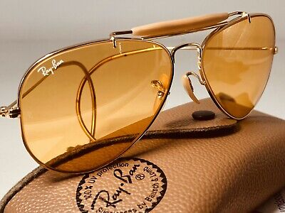 B&L RAY-BAN 58mm AMBERMATIC WRAP-AROUNDS OUTDOORSMAN AVIATOR SUNGLASSES Amber 58