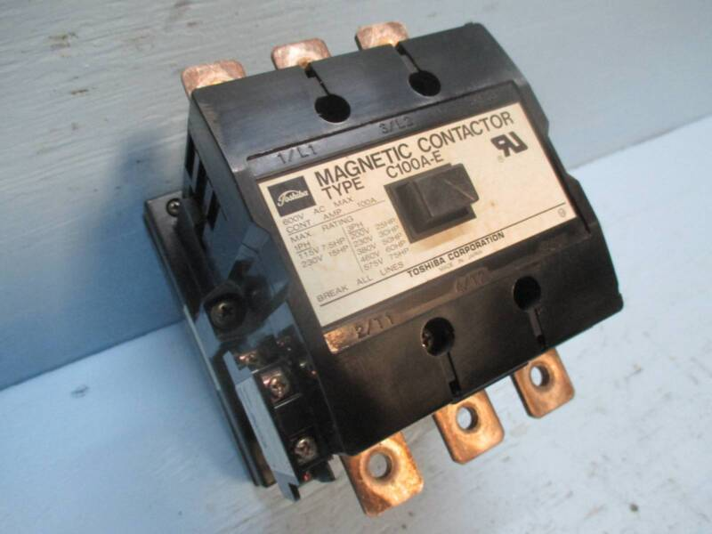 Toshiba C100A-E 100 Amp Magnetic Contactor 240V Coil 600 Vac 75 HP 100A 220 Vdc