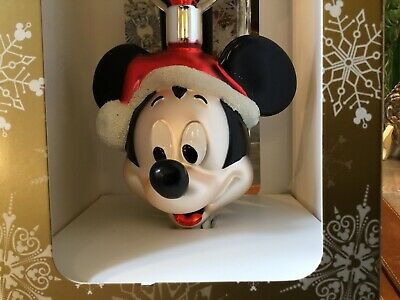 Disney Parks Santa Mickey Mouse Glass Ornament Holiday Christmas Tree Topper NEW