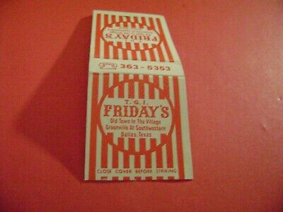 "1- Match Book, ""T.G.I. FRIDAY'S RESTAURANT"", Dallas, TX, (RARE) complete."