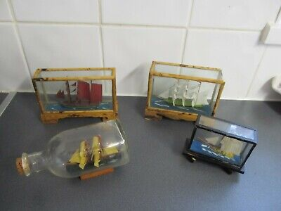 Vintage Ship in a Bottle + 3 Vintage Ship in a Glass Display Cases