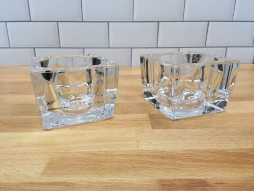 """Pair of Elegant Clear Glass Candle Votive Tealight Holders, 3"""" x 3"""" x 2-5/8"""""""