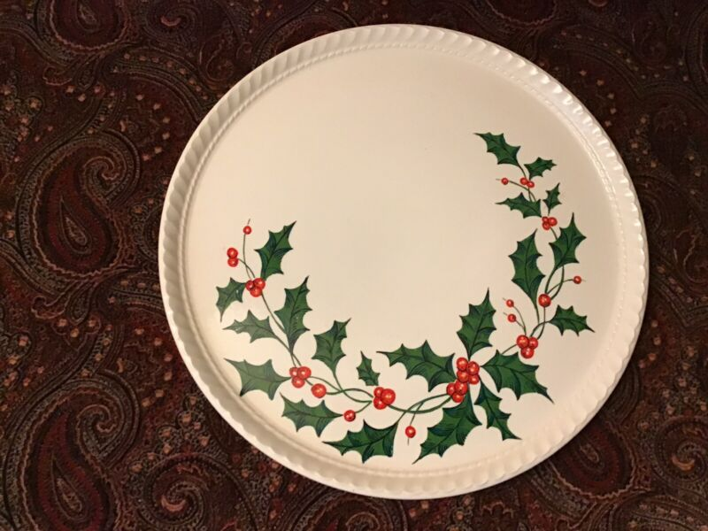 currier ives Christmas Platter And Cake Stand Set