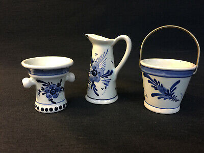 RARE LOT OF 3 MINIATURE MINI DELFT BLUE HOLLAND T * CREAMER PITCHER VASE BUCKET, used for sale  Sturgis