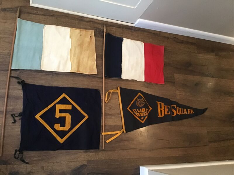 1940s Boy Cub Scouts Pennant Flag Lot BSA Be Square PA Troop 5 Montgomery County