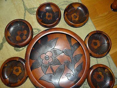 Wood Salad Bowl Set Vintage Painted Hand Crafted Carved Serving Flower Design