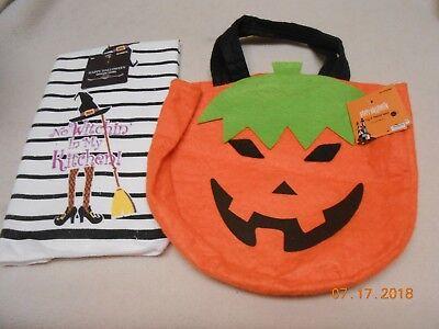 New lot 2 cute Halloween items kitchen hand towel & pumpkin felt treat bag - Cute Halloween Treats