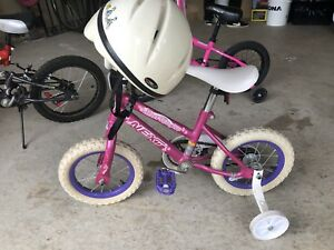 Bike for sale (girls) pink and white with helmet