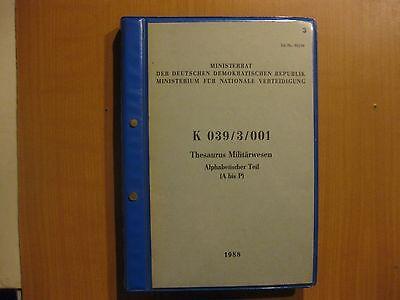 NVA Volkspolizei Thesaurus Militärwesen Alphabetischer Teil A-P K 039/3/001 1988