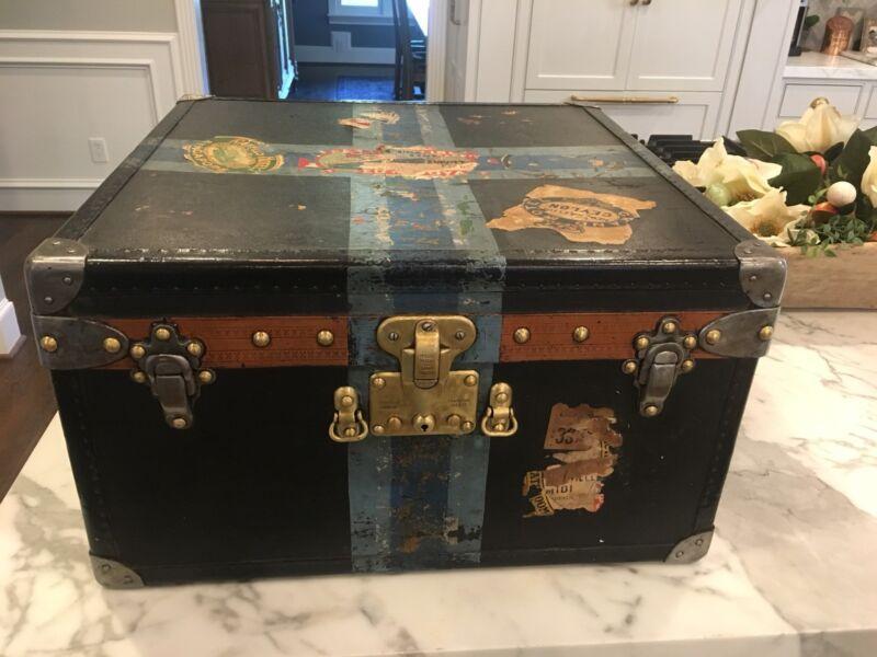 Antique Louis Vuitton Custom Order Black Steamer Mail Trunk Hat Box Paris