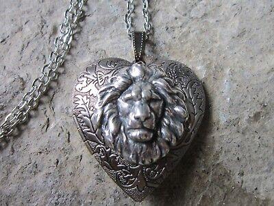 Lion Head Heart (LION DARK SILVER PLATED HEART LOCKET - LION'S HEAD, AFRICA, AFRICAN, LION)