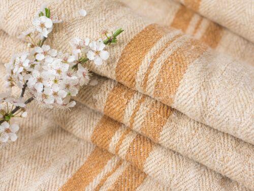 Hemp linen Grain sack Gold Stripes Antique/ vintage french grain sacks