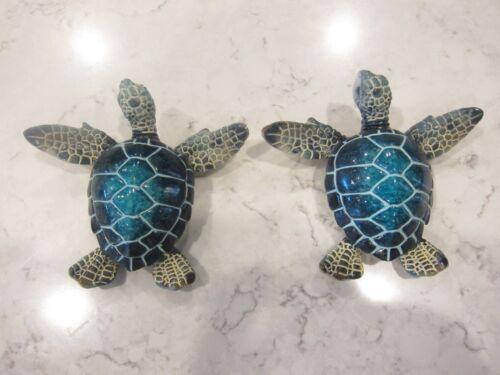Blue Sea Turtle Magnets for Fridge (2 pcs) Home decor/ Fine craft/ Perfect gift/